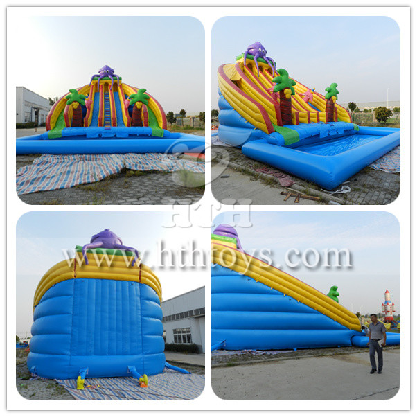Octopus inflatable water slide with pool_Inflatable slide